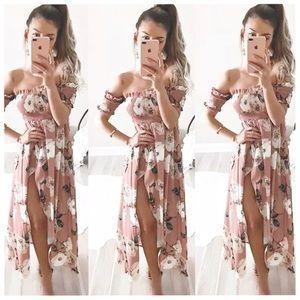 990b62854d387 pink floral off shoulder summer beach dress 🥂✨ Cute light pink ribbed ...